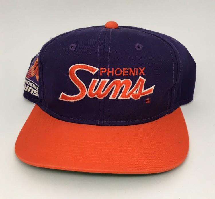 27b532b33 90's Phoenix Suns Sports Specialties Script NBA Snapback Hat
