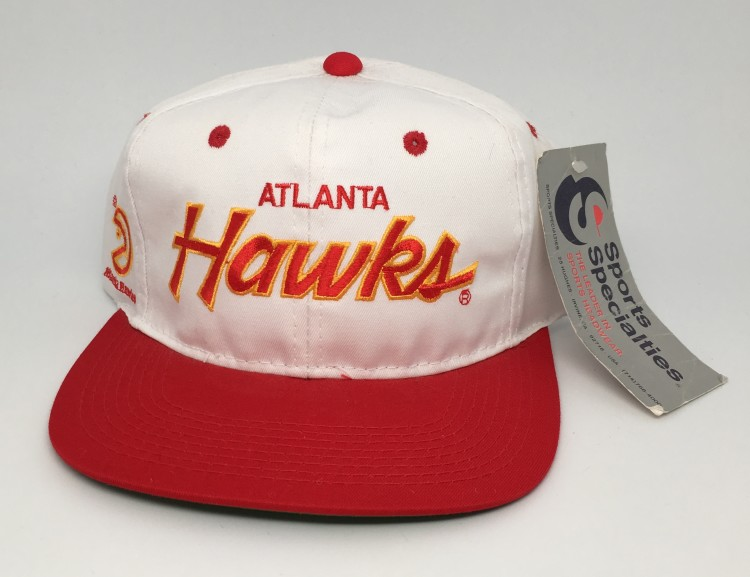 sports shoes 25639 c1b81 90 s Atlanta Hawks Sports Specialties NBA Script snapback hat
