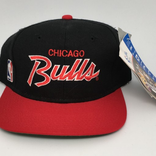 90's Chicago Bulls Sports Specialties NBA Script snapback hat deadstock