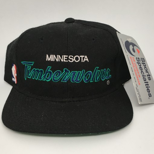90's Minnesota Timberwolves Sports Specialties Script NBA snapback hat deadstock