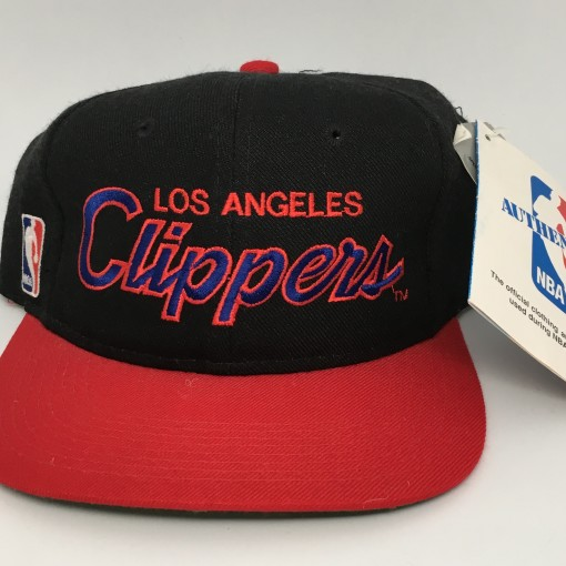 90's Los Angeles Clippers NBA sports specialties script snapback hat  black red brim