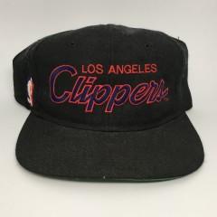 90's Los Angeles Clippers NBA sports specialties script snapback hat  black