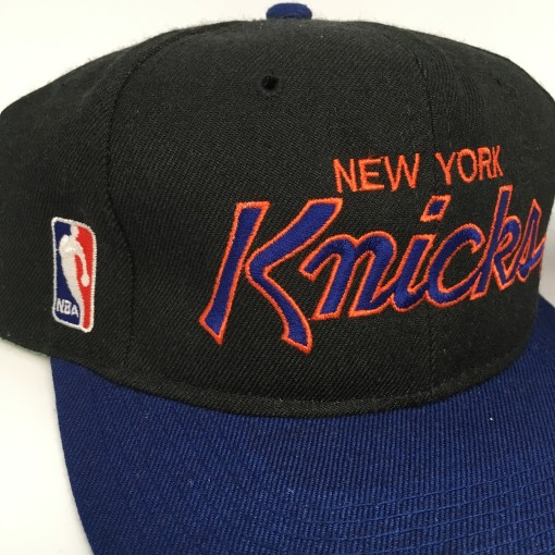 90's New York Knicks Sports Specialties Script NBA snapback hat deadstock