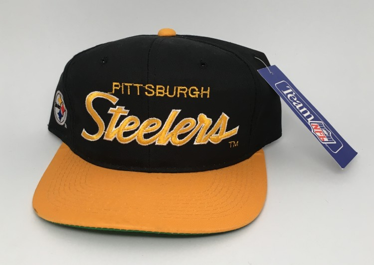 bc1ce2e78fc03 90 s Pittsburgh Steelers Sports Specialties script NFL snapback hat black  yellow brim deadstock
