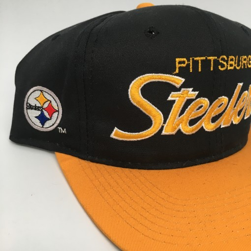 90's Pittsburgh Steelers Sports Specialties script NFL snapback hat black yellow brim deadstock