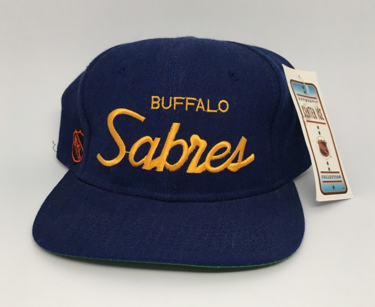 f071b831b3a3a 90 s Buffalo Sabres Sports Specialties NHL Single line snapback hat  deadstock