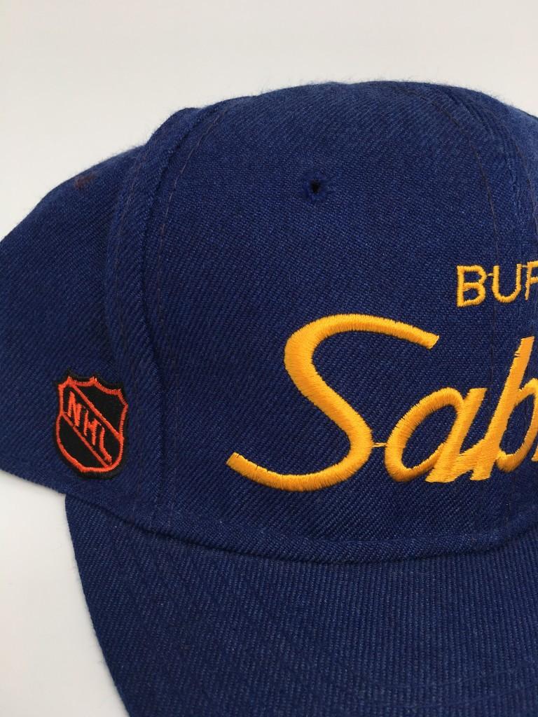 e5712d8d 90's Buffalo Sabres Sports Specialties Script NHL Snapback Hat