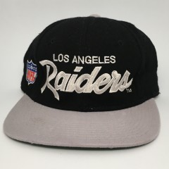 b3356c916c8 90 s Los Angeles Raiders Sports Specialties Script Fitted Hat size ...
