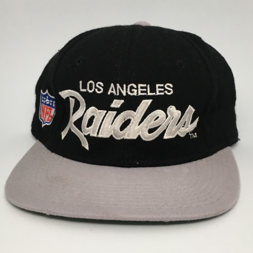 90's Los Angeles Raiders Sports Specialties Script Fitted Hat size 6 5/8