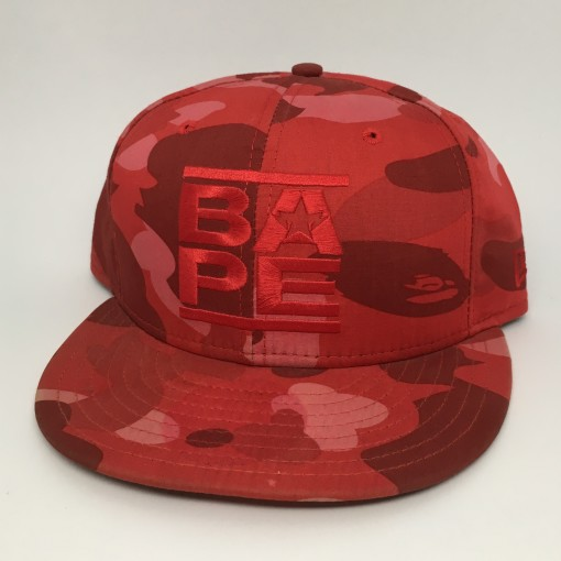2006 A Bathing Ape Red New Era Camo Fitted Hat Size 7 1/2