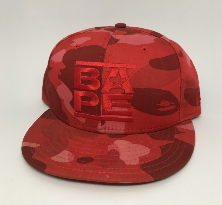 8bb7c66950e 2006 A Bathing Ape Red Camo Run DMC Logo New Era Fitted Hat 7 1 2 ...