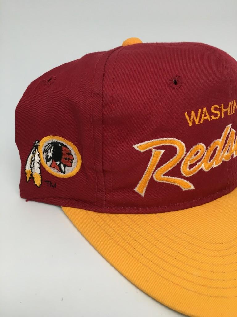 64dd6e01a35 90 s Washington Redskins Sports Specialties Script NFL Snapback Hat ...