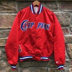 90's Los Angeles Clippers Starter NBA Satin bomber jacket red size large