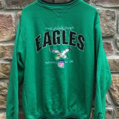 90's Kelly Green Philadelphia Eagles Logo Athletic Vintage NFL crewneck sweatshirt size large