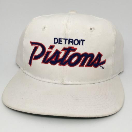 90's Detroit Pistons Sports Specialties NBA Script snapback hat deadstock