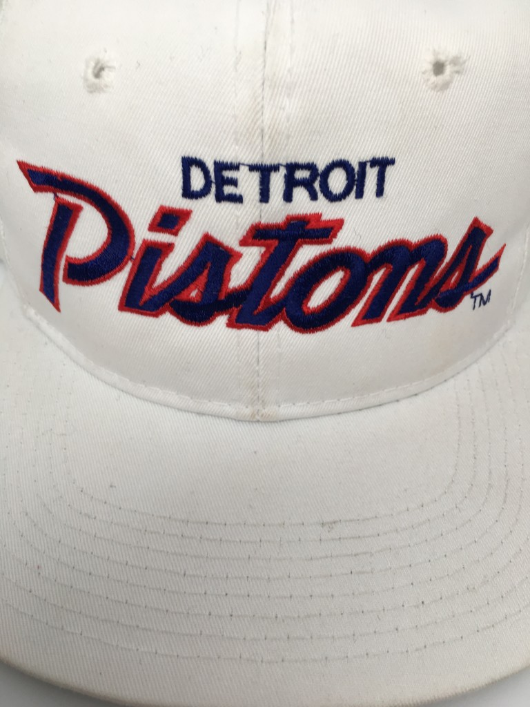 d458c664be526a 90's Detroit Pistons Sports Specialties NBA Script snapback hat deadstock