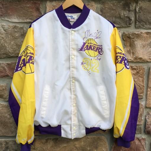 vintage 80's 90's Magic Johnson Los Angeles Lakers Chalkline Fanimation jacket size Large  Original