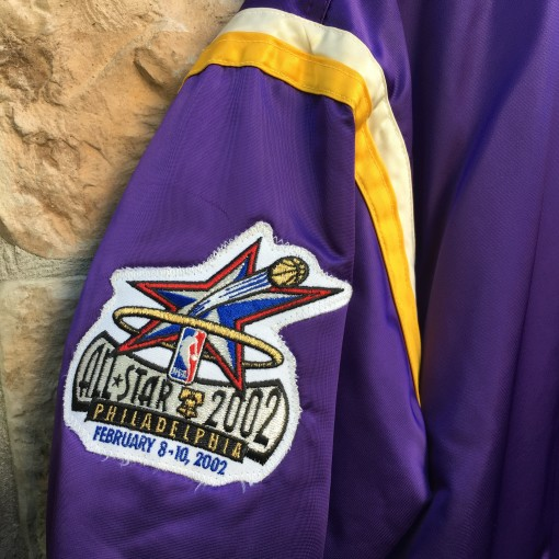 custom vintage starter satin los angeles lakers #8 kobe bryant 2002 NBA all star game jacket size large