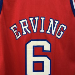 1997 Gold Logo 50th Anniversary NBA Julius Erving Philadelphia Sixers Champion NBA Jersey size 44 large red