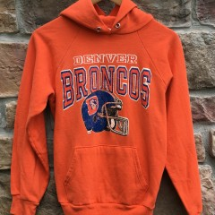 80's Denver Broncos Champion NFL hooded sweatshirt size medium orange crush