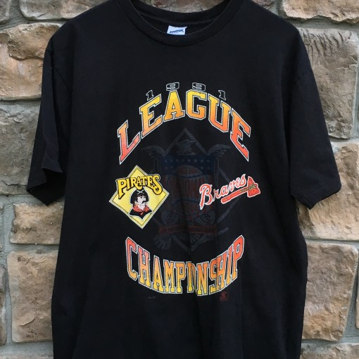 1991 National League Championship Starter MLB T shirt size large Pittsburgh Pirates Atlanta Braves