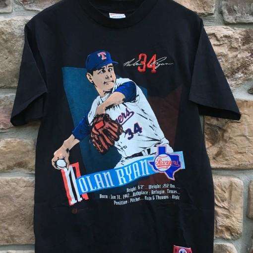 1992 Nolan Ryan Texas Rangers Nutmeg Mills MLB t shirt size large