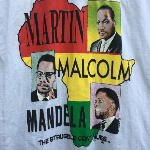80's Martin Luther King Malcolm X Nelson Mandela the struggle continues screen stars t shirt size medium