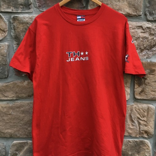 90's tommy hilfiger jeans red t shirt size medium large