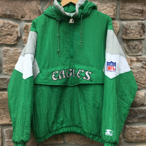 90's Philadelphia Eagles Kelly Green starter pullover pouch jacket size medium NFL