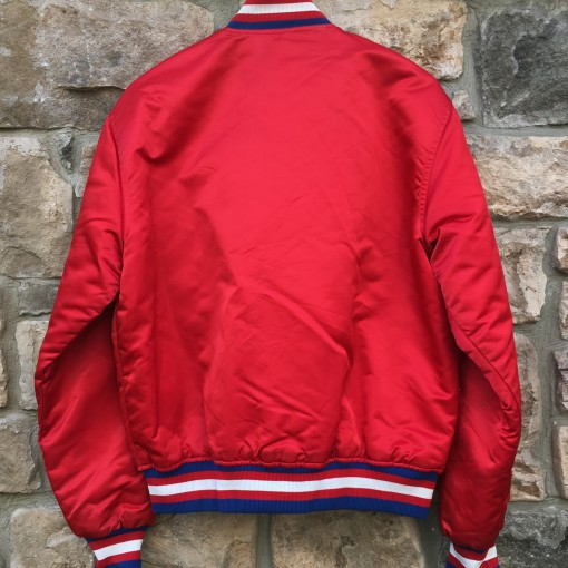 early 90's vintage Philadelphia Sixers 76ers Starter Satin bomber jacket red size large