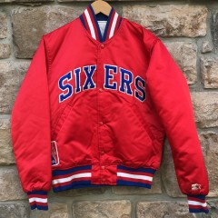 early 90's vintage Philadelphia Sixers 76ers Starter Satin bomber jacket red size small