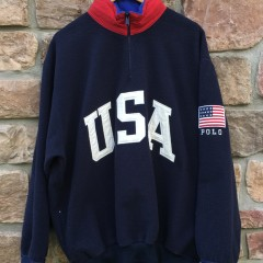 90's Polo Ralph Lauren USA Fleece quarter zip sweatshirt super man size large