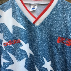 1994 Team USA World Cup Faux Denim Soccer Jersey Adidas size 44/46 Large