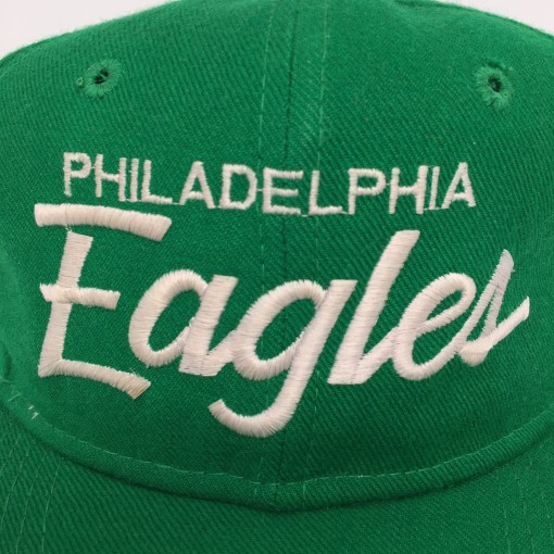 80's Philadelphia Eagles Sports Specialties Single Line Script Snapback Kelly green nfl