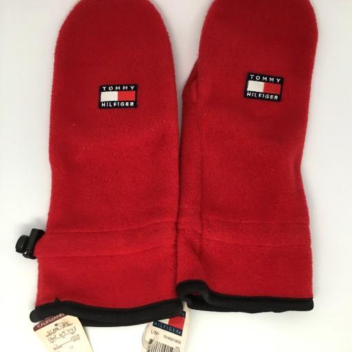 vintage 90's Tommy Hilfiger Fleece mittens gloves red deadstock