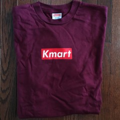 Rare Vntg Kmart Supreme bootleg box logo shirt friends family t shirt  maroon