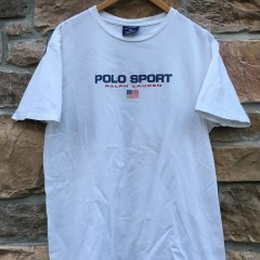 90's polo sport classic logo spell out t shirt white size large
