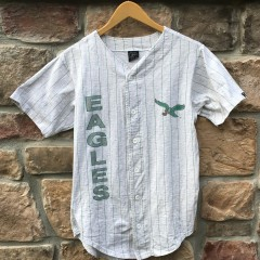 90's Philadelphia Eagles Salem Sportswear grey pinstripe baseball jersey size small