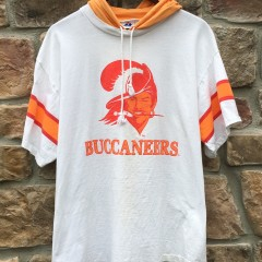 90's Tampa Bay Buccaneers Apex one hooded t shirt size medium white orange