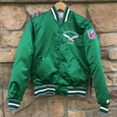 90's Philadelphia Eagles Starter satin jacket size small kelly green