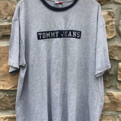 90's Tommy Hilfiger jeans ringer t shirt grey size XL