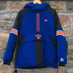 90's New York Knicks Starter heavyweight NBA pullover jacket size small