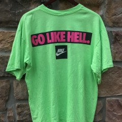 90's nike eat right get lots of sleep drink plenty of fluids go like hell lime green t shirt size large