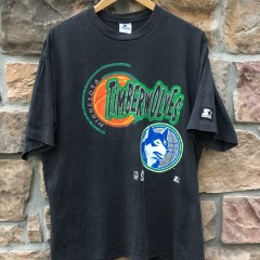 early 90's Minnesota Timberwolves Starter NBA T shirt size Large