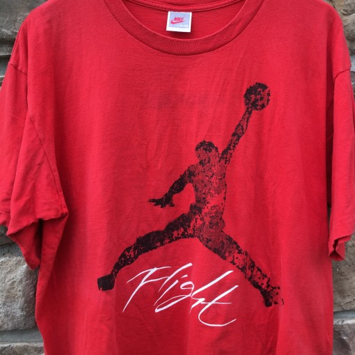 1989 Nike Air Jordan Flight T shirt red jordan iv size large