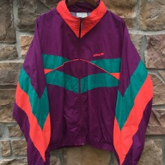 80's Adidas Maroon purple aqua jacket size XL