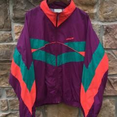 80's Adidas Maroon purple aqua jacket size XL
