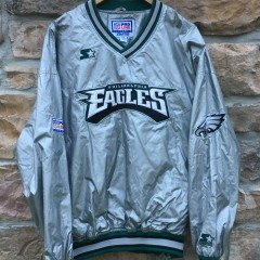 90's Philadelphia Eagles Starter silver pullover jacket size XXL