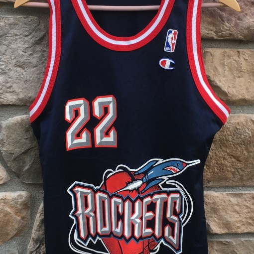8855e4a9378 denmark 90s clyde drexler houston rockets champion nba jersey size 36 small  76a10 87355