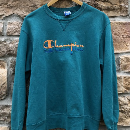 90's Champion Double embroidered Logo crewneck sweatshirt aqua size large